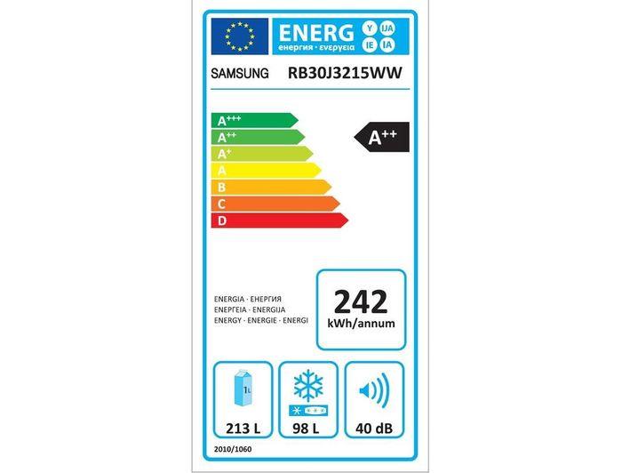 Samsung RB30J3215WW energetický štítok