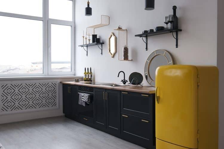 Žltá retro chladnička – objem