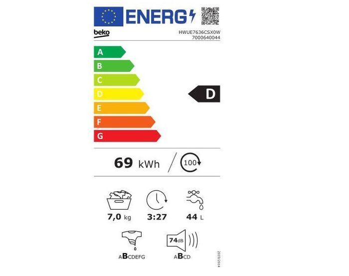 Beko HWUE 7636 CSX0W energetický štítok