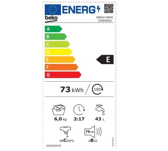 Beko WRE6511BWW energetický štítok