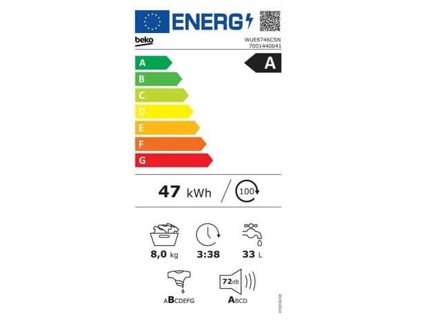 Beko WUE8746CSN energetický štítok