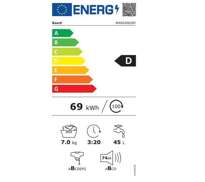 Bosch WAN24062BY energetický štítok