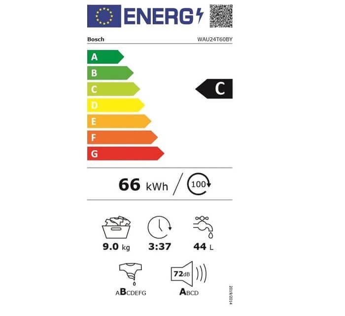 Bosch WAU24T60BY energetický štítok
