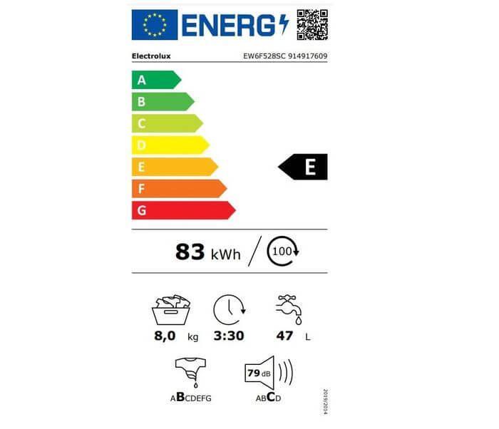 Electrolux EW6F528SC energetický štítok