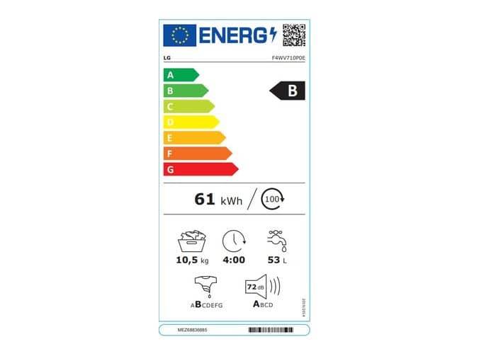 LG F4WV710P0E energetický štítok