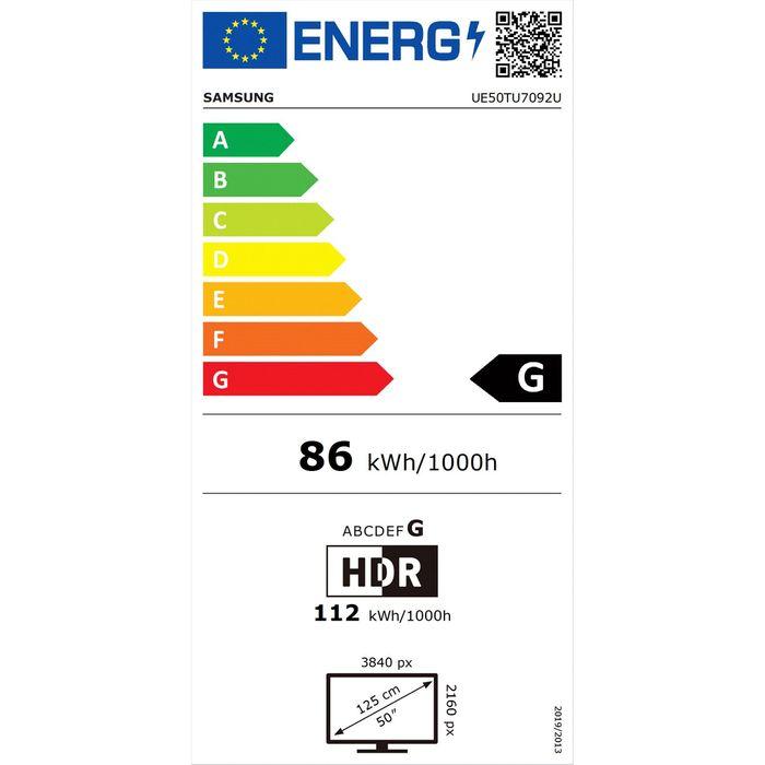 Samsung UE50TU7092 energetický štítek