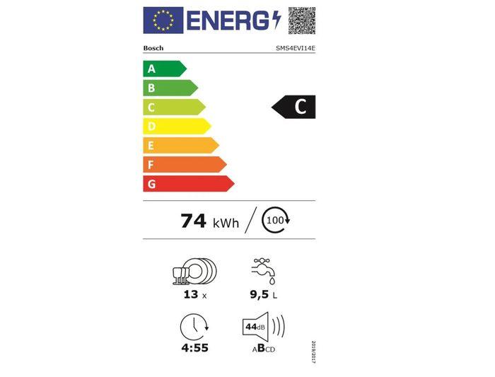 Bosch SMS4EVI14E energetický štítok