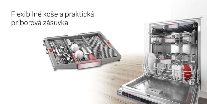 Bosch SMS4EVI14E flexibilné koše a zásuvka na príbor